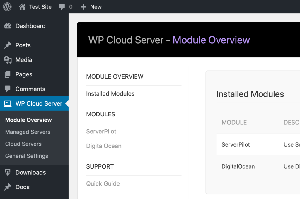WP Cloud Server Control Panel