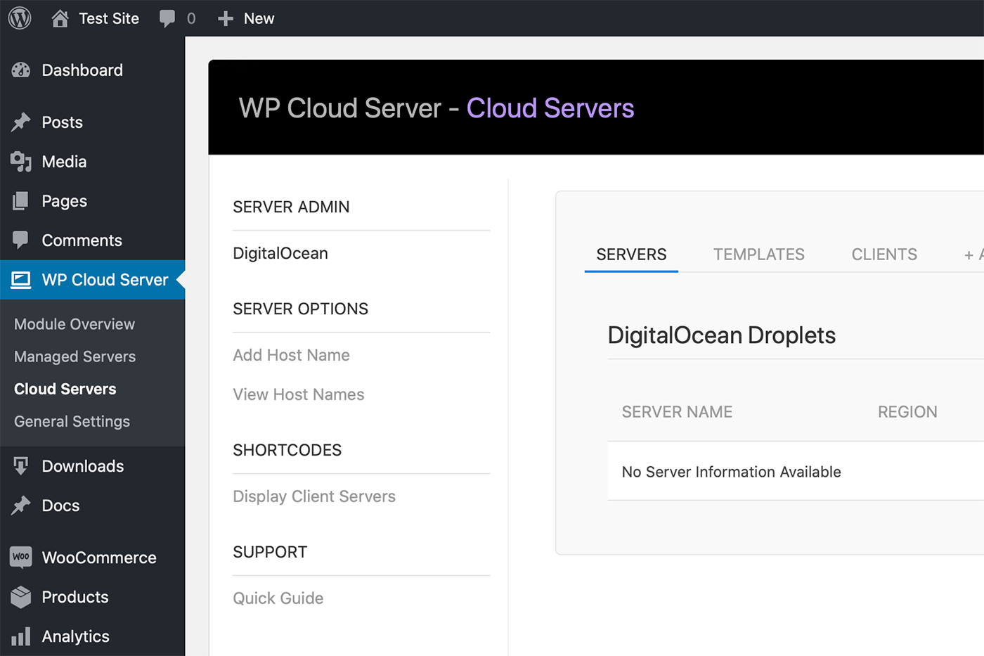 WP Cloud Server DigitalOcean Module