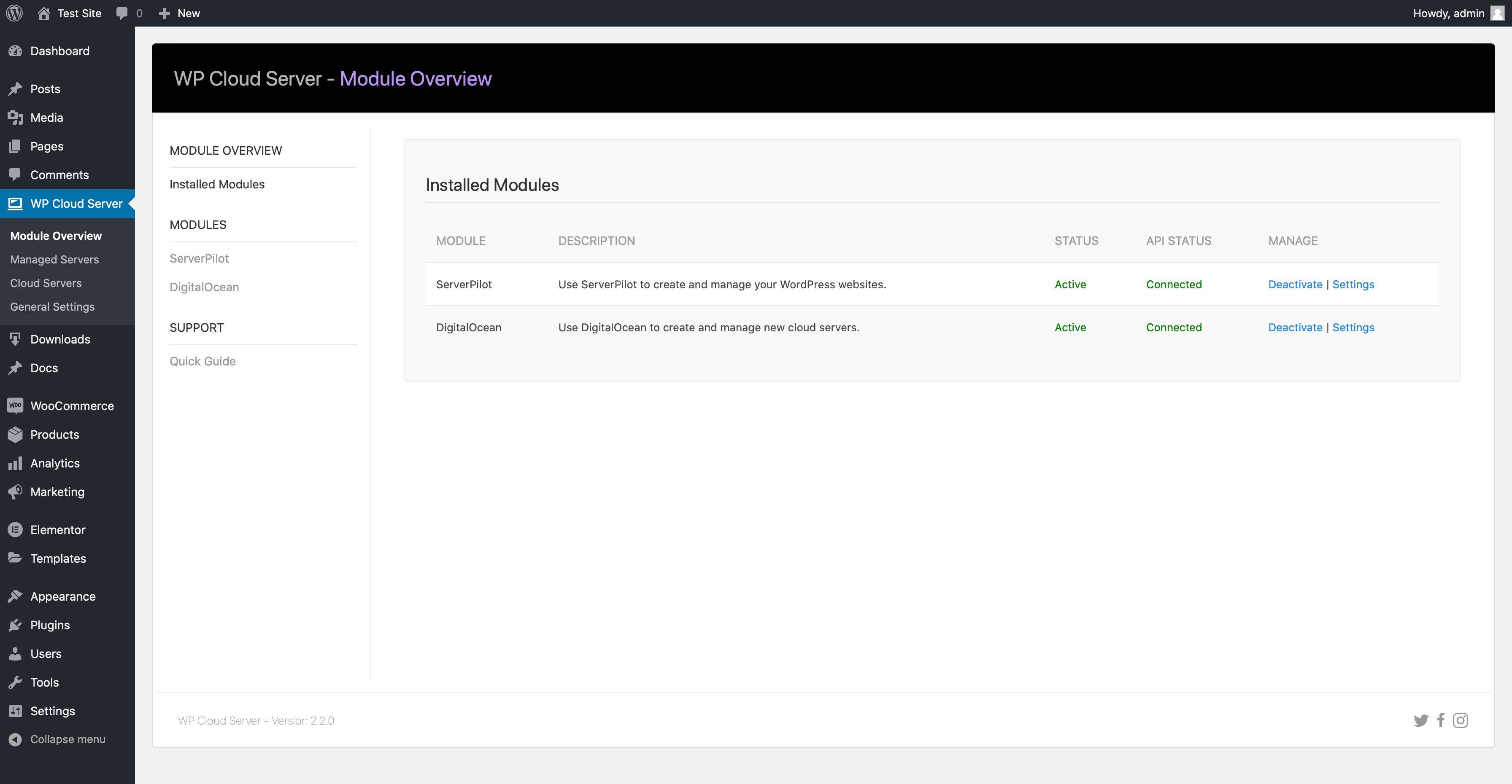 WP Cloud Server Module Overview