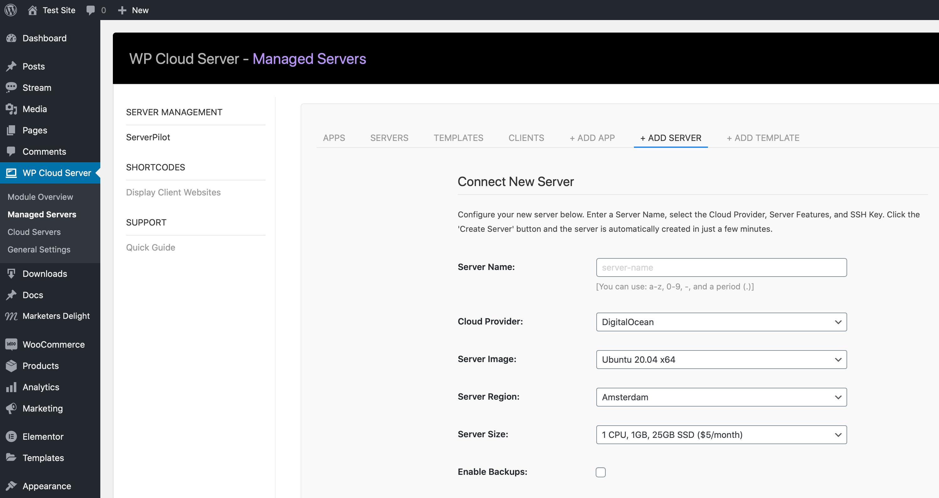 Add Server to ServerPilot