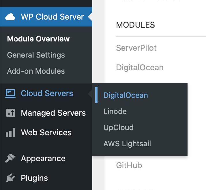 WP Cloud Server - Cloud Server Menu