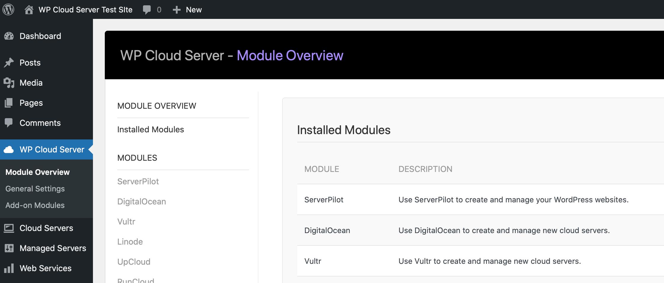 WP Cloud Server Control Panel - Module Overview